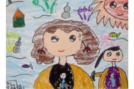三八妇女节主题画作品之妈妈和我
