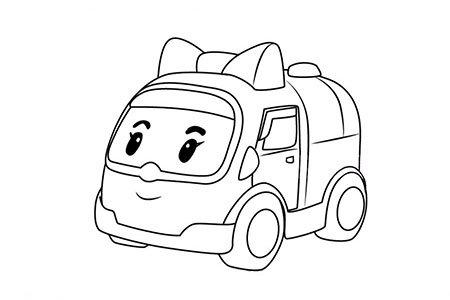 警车珀利安巴简笔画