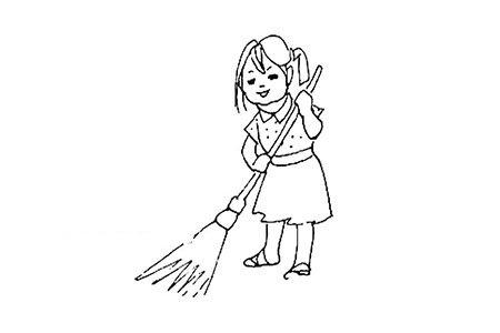 小女孩在扫地