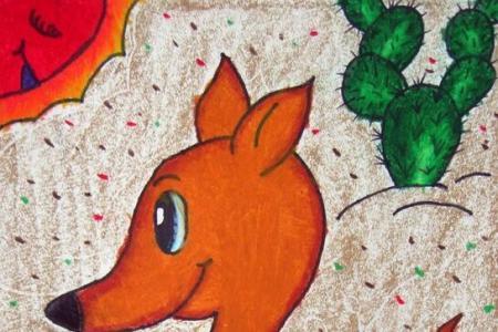 袋鼠母子俩母亲节的画一等奖画作品展示