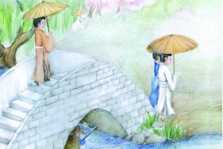 清明节美术示范画作品之西湖踏青
