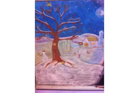 满满的童年回忆!雪后老家绘画作品