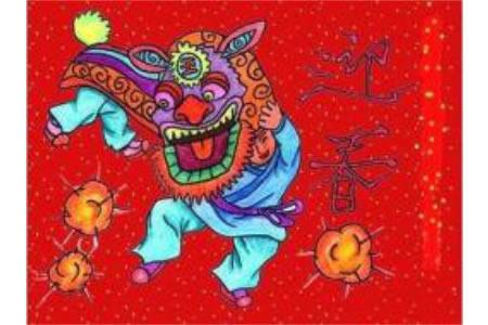 优秀春节儿童画教师范画:迎春
