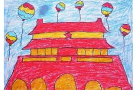 儿童画国庆节图片-红色中国