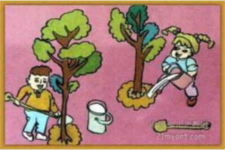 关于植树节的儿童画-我们来种树了