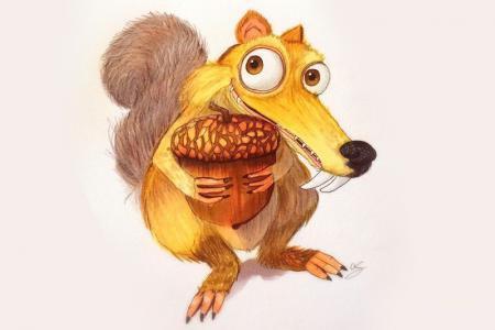 冰河世纪中的松鼠彩铅画