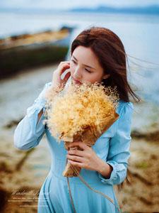 清纯美女海边风中高清写真