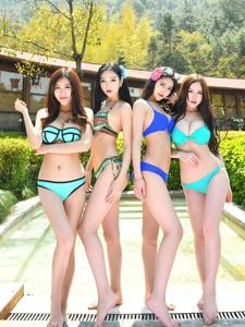 四大推女神泳池比基尼性感湿身吸引人
