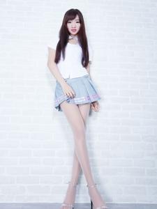 腿模celia欣洁清爽职业装短裙肉丝长腿