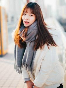 冬日甜美妹子可爱清新稚嫩户外写真