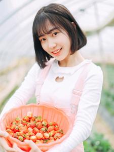 草莓少女大棚俏皮写真红润可爱
