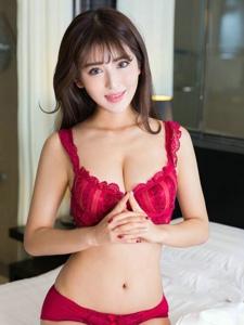 性感巨乳美女岛儿私房红色内衣气质写真