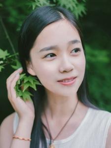 黑长直美女清新绿色自然唯美怡人