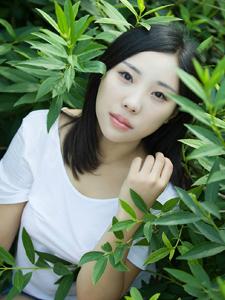 白衣清纯美眉绿茵草地清新写真