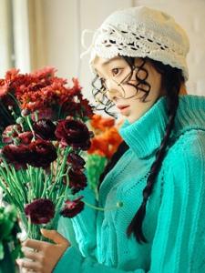 眼镜明亮少女靓丽灵动花朵迷人