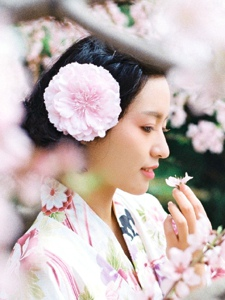 日系美女和服樱花粉红美丽动人