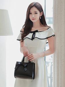 白皙模特性感一字肩连衣裙气质写真淑女形象尽显