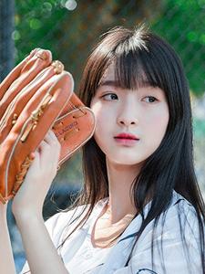 棒球少女长发飘逸气质优雅甜美可人