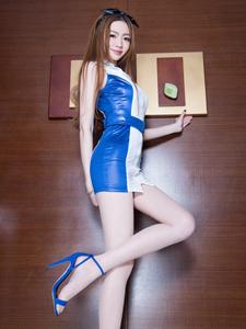 皮裙美女Joanna蓝色魅惑性感妖娆秀长腿