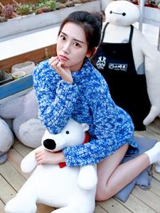 毛衣少女清新多肉家园毛绒玩具可爱写真