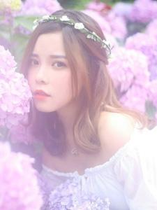 紫色花海中的美少女纯净迷人时光
