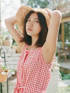 夏日红格子裙美女安静纯真养眼