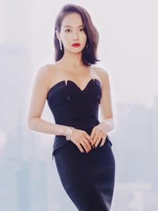 宋茜红唇黑裙尽显优雅写真