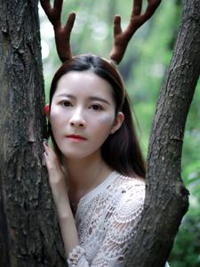 麋鹿少女丛林意境写真纯净可人