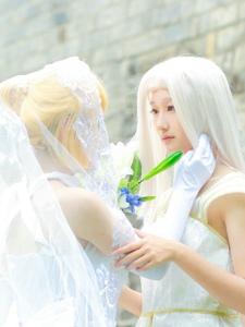 亚瑟王saber婚纱专场最新cos图片