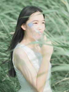 夏日午后绿丛处的清新姑娘微风飘荡
