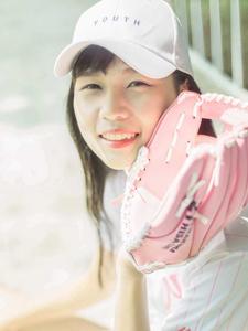 粉嫩棒球少女白皙清纯可人
