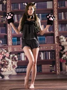 Beautyleg心爱漂亮腿猫耳少女图书馆俏皮诱人写真