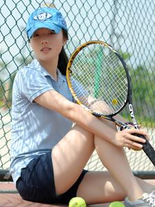 藍色清新網球少女活力魅力休閑寫真