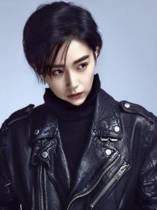 阚清子短发酷帅皮衣时尚魅力