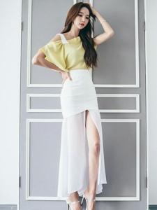 气质美女高跟白纱长裙美腿宜人