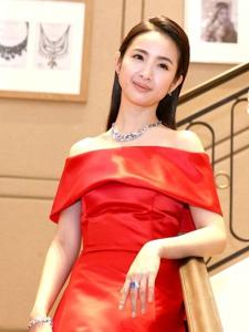 林依晨一身红色长礼服亮相活动展露优雅气质