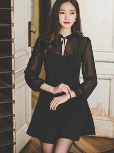 黑色连衣裙透视美模高贵优雅甜美可人