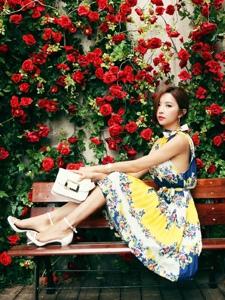 玫瑰花圃里的清新靚麗美模坐在長椅上顯青春活力