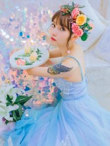 藍色妖姬鮮花美女嬌艷美麗動人