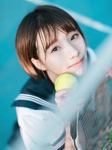 校服网球少女可爱青春阳光动人