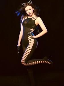 性感猫女郎黑丝网袜诱惑写真