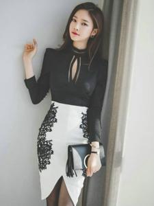 靠墙美模经典黑白裙气质冷艳典雅范