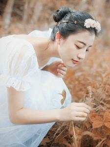 深秋落叶堆中的白纱裙气质盘发美女