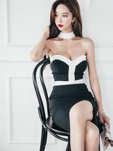 骨感美模抹胸黑白裙经典大气尽显时尚简约