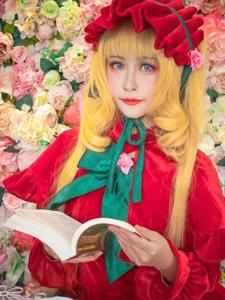 蔷薇少女真红认真看书