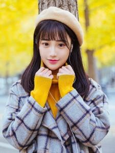 英伦风可爱姑娘秋天落叶中甜美写真