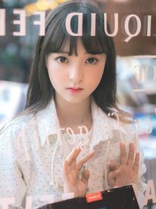 图书馆的大眼刘海清纯黑长直美少女甜美写真