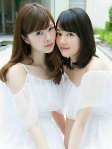 温馨甜美姐妹花一袭白裙宛若仙女写真