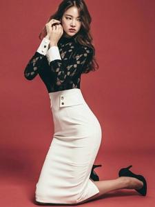 翘臀美女模特蕾丝包臀裙圆润美腿修长