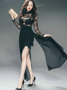 高挑美模蕾丝透视裙飘逸尽显风情